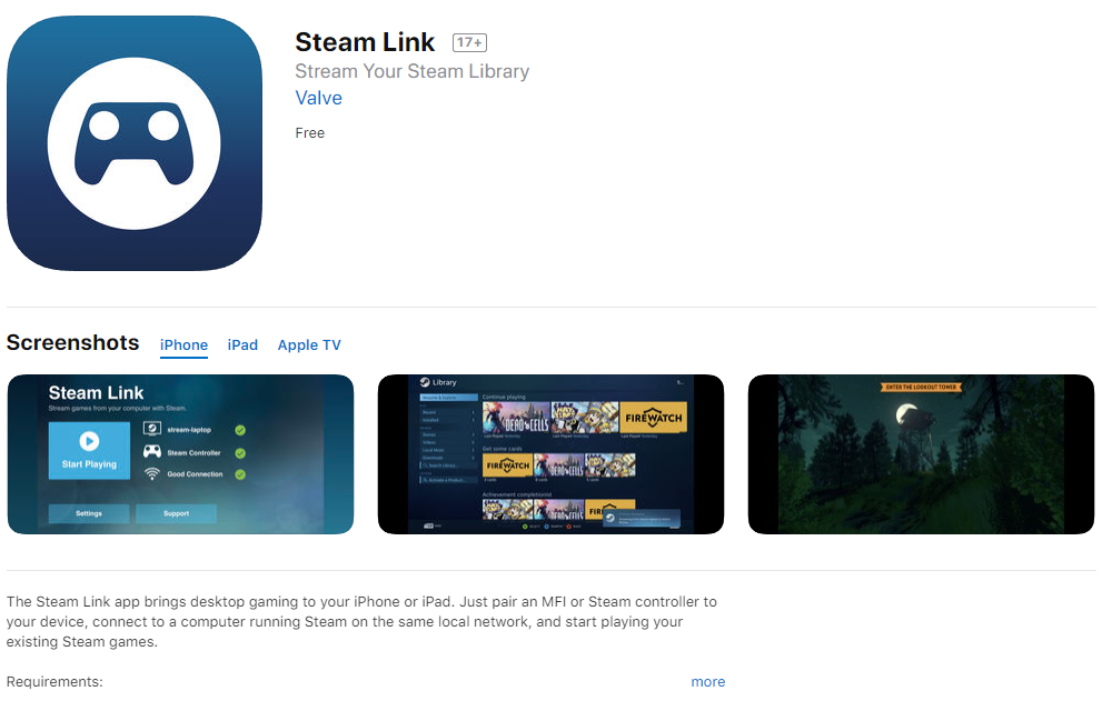 Steam Link正式登陸Appstore iPhone玩PC GAME - Gameapps HK