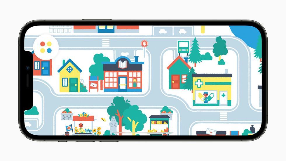 在 iPhone 12 Pro 上展示《Pok Pok Playroom》的遊玩體驗。