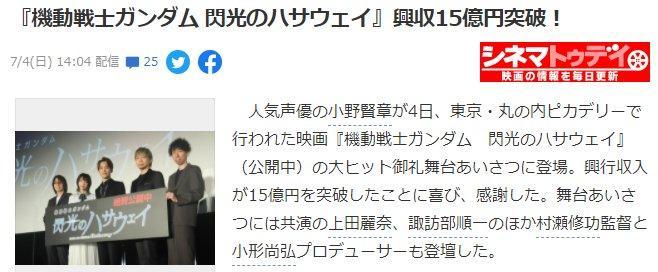 《機動戰士高達:閃光之凱薩衛》動畫電影票房突破15億史上新高